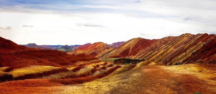 Beautiful Rainbow Mountains and Hills in Zhangye Danxia, China