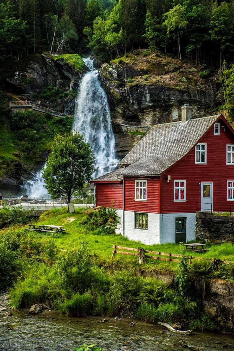 Waterfall and Cottage in Norway