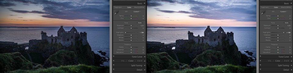 Lightroom basic highlights adjustment