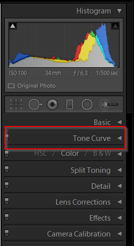 Lightroom Tone Curve Panel Position
