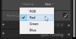 Lightroom Tone Curve RGB color channel